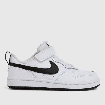 Nike White & Black Court Borough Low 2 Unisex Junior