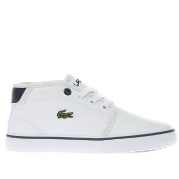 LACOSTE WHITE & NAVY AMPTHILL JUNIOR TRAINERS