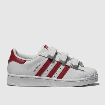 ADIDAS WHITE & RED SUPERSTAR TRAINERS JUNIOR