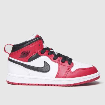 Nike Jordan White & Red Air Jordan 1 Mid Unisex Junior#