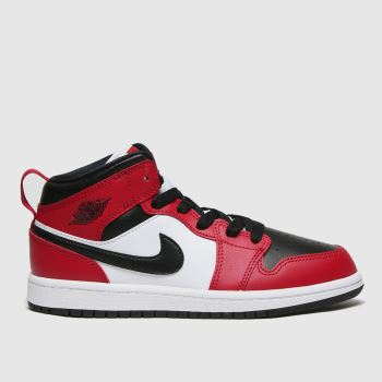 Nike Jordan Black & Red Air Jordan 1 Mid Unisex Junior#