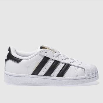 adidas White & Black Superstar Foundation Unisex Junior#