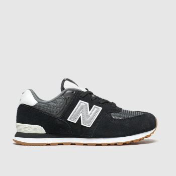 New Balance Black & Grey 574 Unisex Junior
