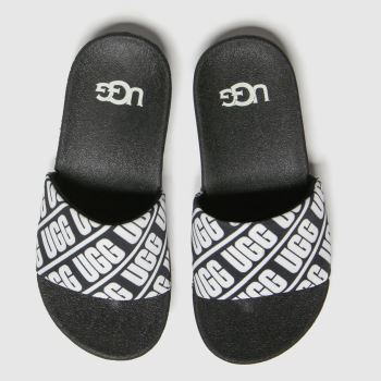 UGG Black & White Beach Slide Unisex Junior