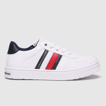 Tommy Hilfiger White & Navy Low Cut Lace-up Sneaker Unisex Junior#