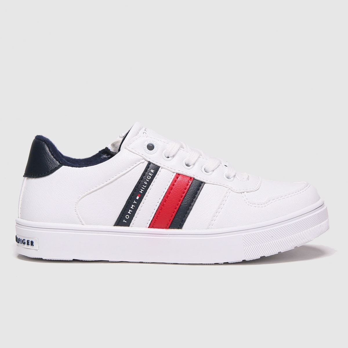Tommy Hilfiger White & Navy Low Cut Lace-up Sneaker Trainers Jun