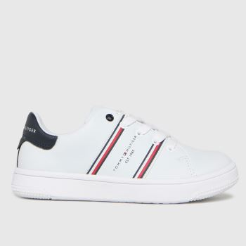 Tommy Hilfiger White & Red Low Cut Lace-up Sneaker Unisex Junior