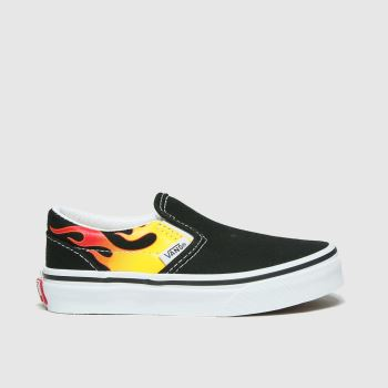 Vans Black & Red Classic Slip-on Flame Unisex Junior