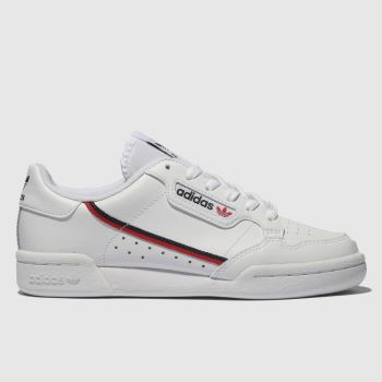 Adidas White & Red Continental 80 Unisex Youth#