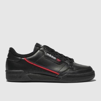 adidas Black & Red Continental 80 Unisex Youth#