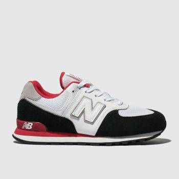 New Balance White & Black 574 Unisex Youth