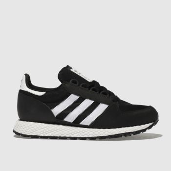 ADIDAS BLACK & WHITE FOREST GROVE TRAINERS YOUTH