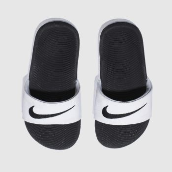 Nike White & Black Kawa Slide c2namevalue::Unisex Youth