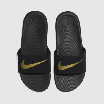 Nike Black & Gold Kawa Slide Unisex Youth#