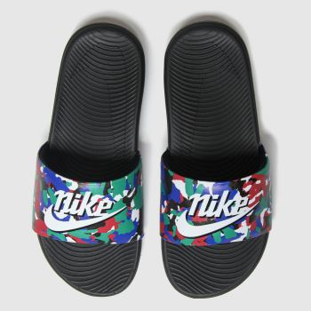 Nike Black & Green Kawa Slide Se Unisex Youth