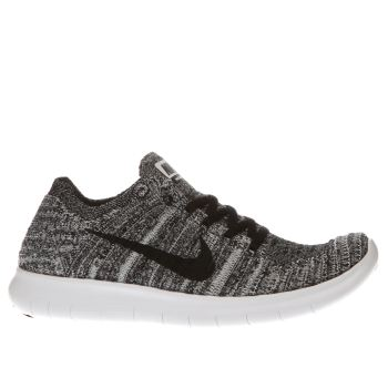 new product b5756 84fa0 NIKE WHITE   BLACK FREE RN FLYKNIT TRAINERS YOUTH