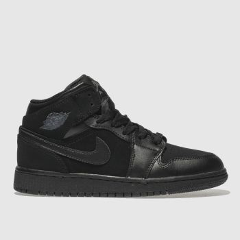 Nike Jordan Black & Grey 1 Mid Unisex Youth