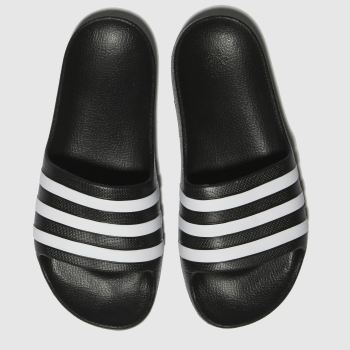 Adidas Black & White Adilette Aqua c2namevalue::Unisex Youth