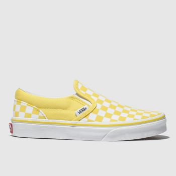 VANS WHITE & YELLOW CLASSIC SLIP-ON TRAINERS YOUTH