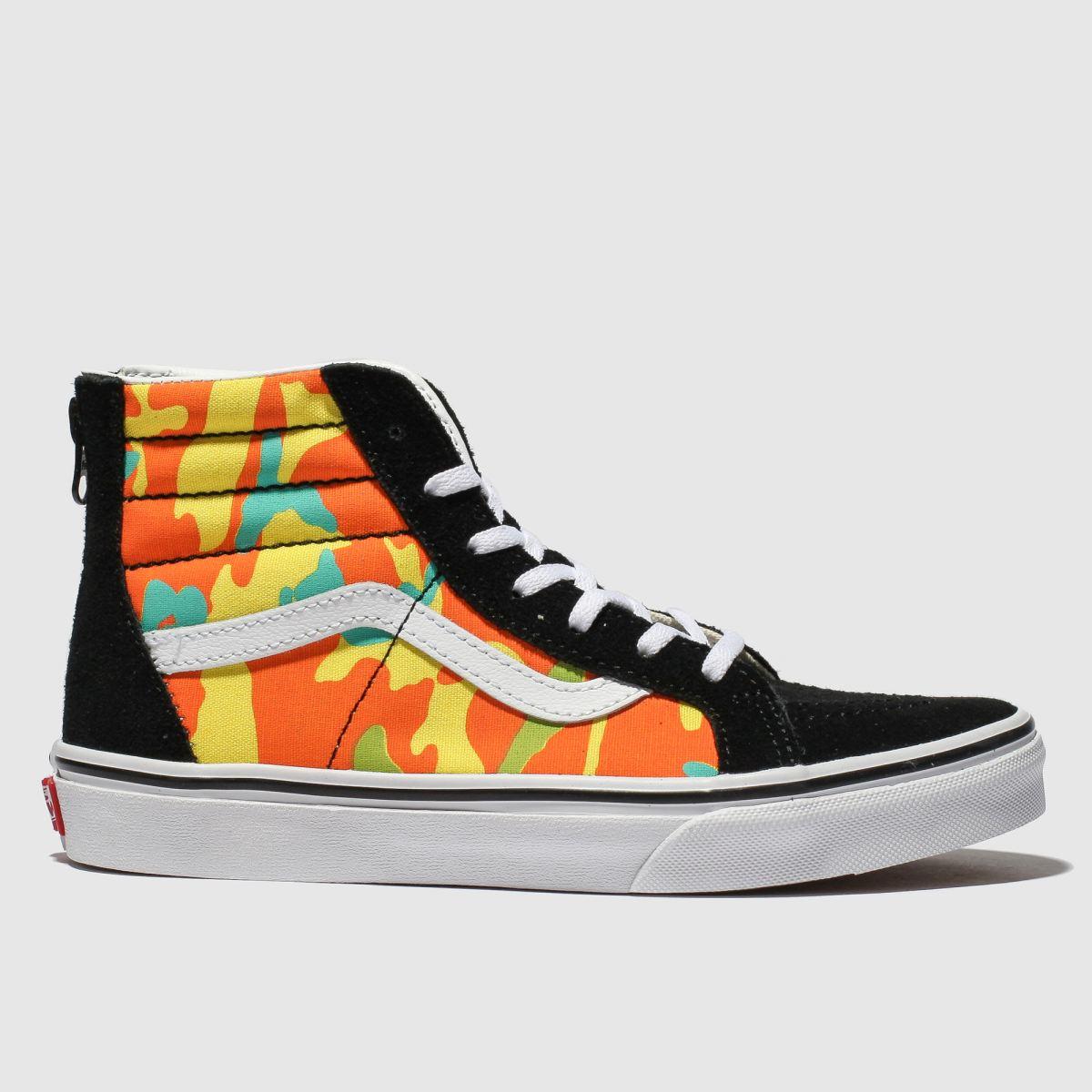 c1444edb486b81 Vans Black   Orange Sk8-hi Zip Pop Camo Trainers Youth - Schuh at Westquay  - Shop Online