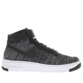 NIKE BLACK AIR FORCE 1 ULTRA MID FLYKNIT YOUTH TRAINERS
