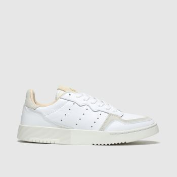adidas white & beige supercourt trainers youth