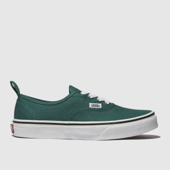 vans dark green authentic elastic lace trainers youth
