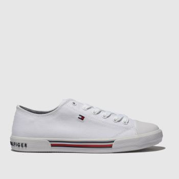 Tommy Hilfiger White Lace Up Sneaker Unisex Youth