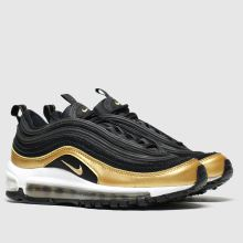 nike black & gold air max 97 trainers youth