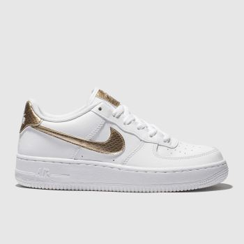 sports shoes 2ecf0 b074e Nike White   Gold Air Force 1 Ep Unisex Youth