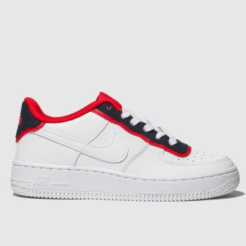 nike white & navy air force 1 trainers youth