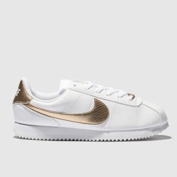NIKE WHITE & GOLD CORTEX BASIC TRAINERS YOUTH