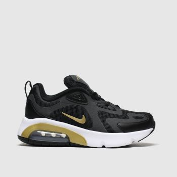 nike black & gold air max 200 trainers youth