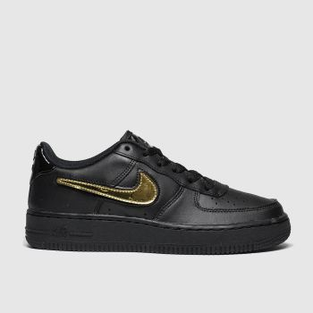 nike black & gold air force 1 lv8 3 trainers youth