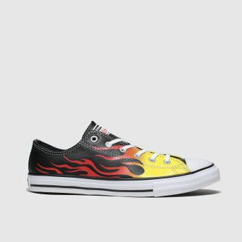 Converse Black & Orange All Star Lo Flame Unisex Youth