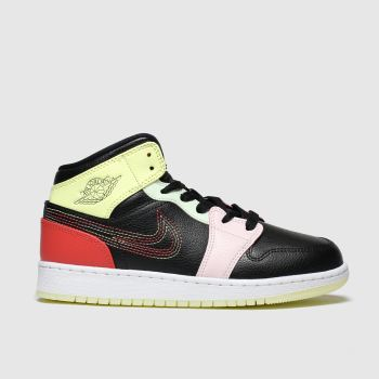 Nike Jordan Black & Orange Air 1 Mid Unisex Youth