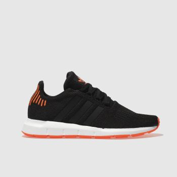 ADIDAS BLACK & ORANGE SWIFT RUN TRAINERS YOUTH