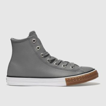 Converse Grey All Star Hi Leather Unisex Youth
