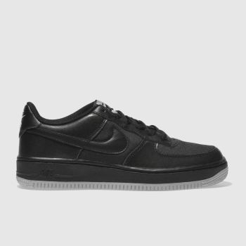 NIKE BLACK & GREY AIR FORCE 1 LV8 TRAINERS YOUTH