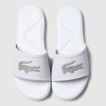 Lacoste White & Silver L.30 Slide Unisex Youth#
