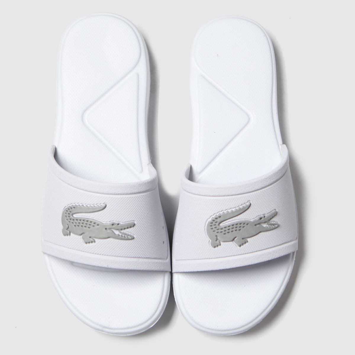 Lacoste White & Silver L.30 Slide Trainers Youth