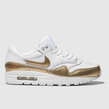 Nike White & Gold Air Max 1 Unisex Youth