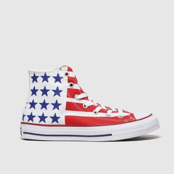 Converse White & Red All Star Hi Bars & Stripes Unisex Youth