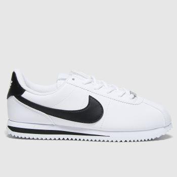 Nike White & Black Cortez Classic Unisex Youth