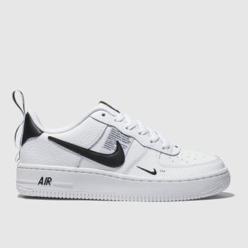 NIKE WHITE & BLACK AIR FORCE 1 LV8 UTILITY TRAINERS YOUTH