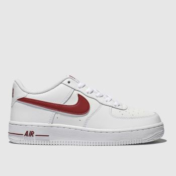 Nike White & Red Air Force 1-3 Unisex Youth