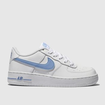 62959784672e Nike White   Pl Blue Air Force 1-3 Unisex Youth