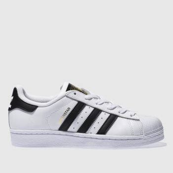 Adidas White & Black Superstar Foundation c2namevalue::Unisex Youth