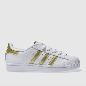 ADIDAS WHITE & GOLD SUPERSTAR YOUTH TRAINERS