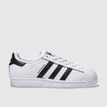 ADIDAS WHITE & BLACK SUPERSTAR YOUTH TRAINERS